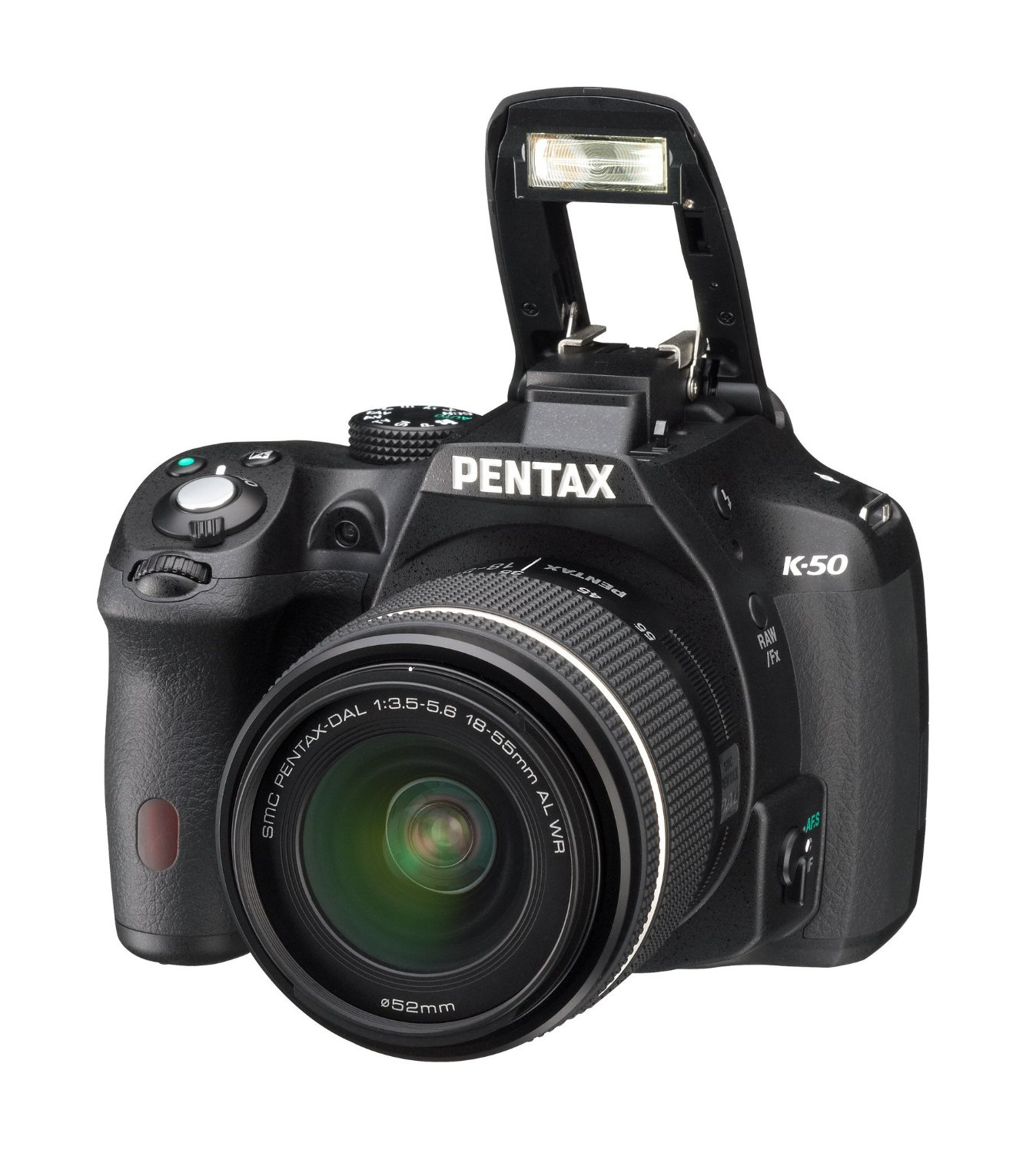 Pentax K-50 DSLR Camera with DAL 18-55 mm WR Lens Kit, 3 inch LCD - Black