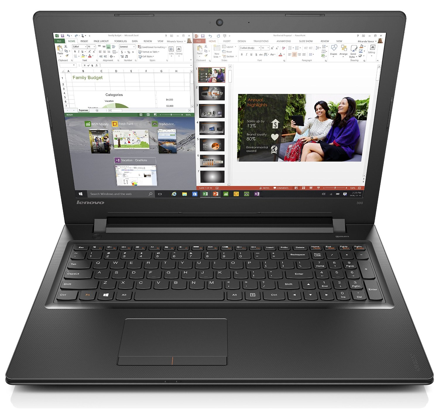 Lenovo Ideapad 300 15.6-Inch HD Laptop (Black) - (Intel Core i7-6500U, 8 GB RAM, 1 TB HDD, Intel HD Graphics Card, Windows 10)